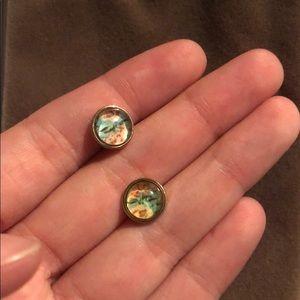 Gold stud earrings with blue/pink flower pattern